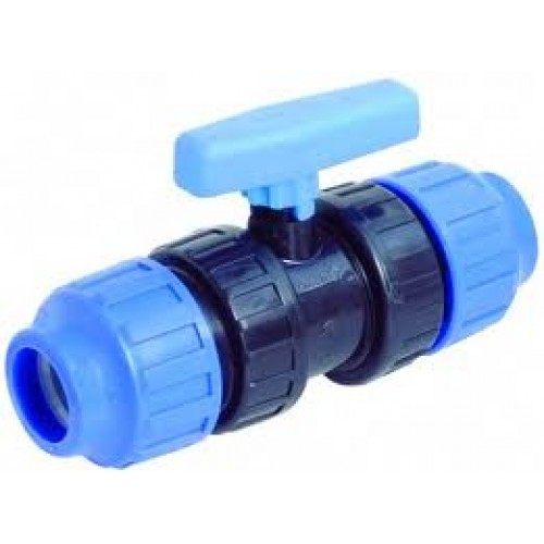 Кран шаровой компрессионный РосТурПласт для ПЭ труб PN16 d 32 мм