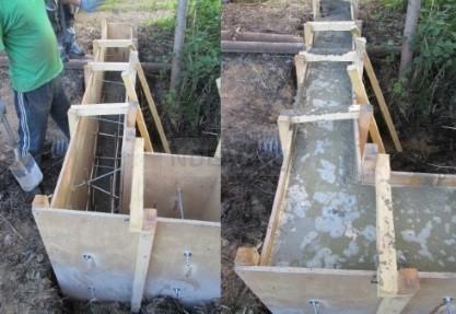 установка опалубки с армированным прутом