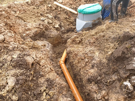 Монтаж септика, укладка канализационной трубы до 5 метров