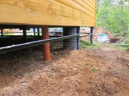 готовая канализационная труба, вход в дом